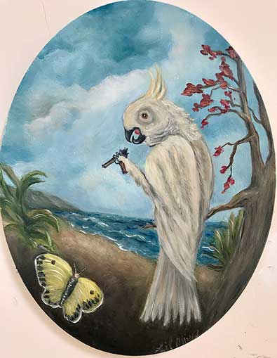 Cockatoo Hates Butterfly - Lil Olive Art