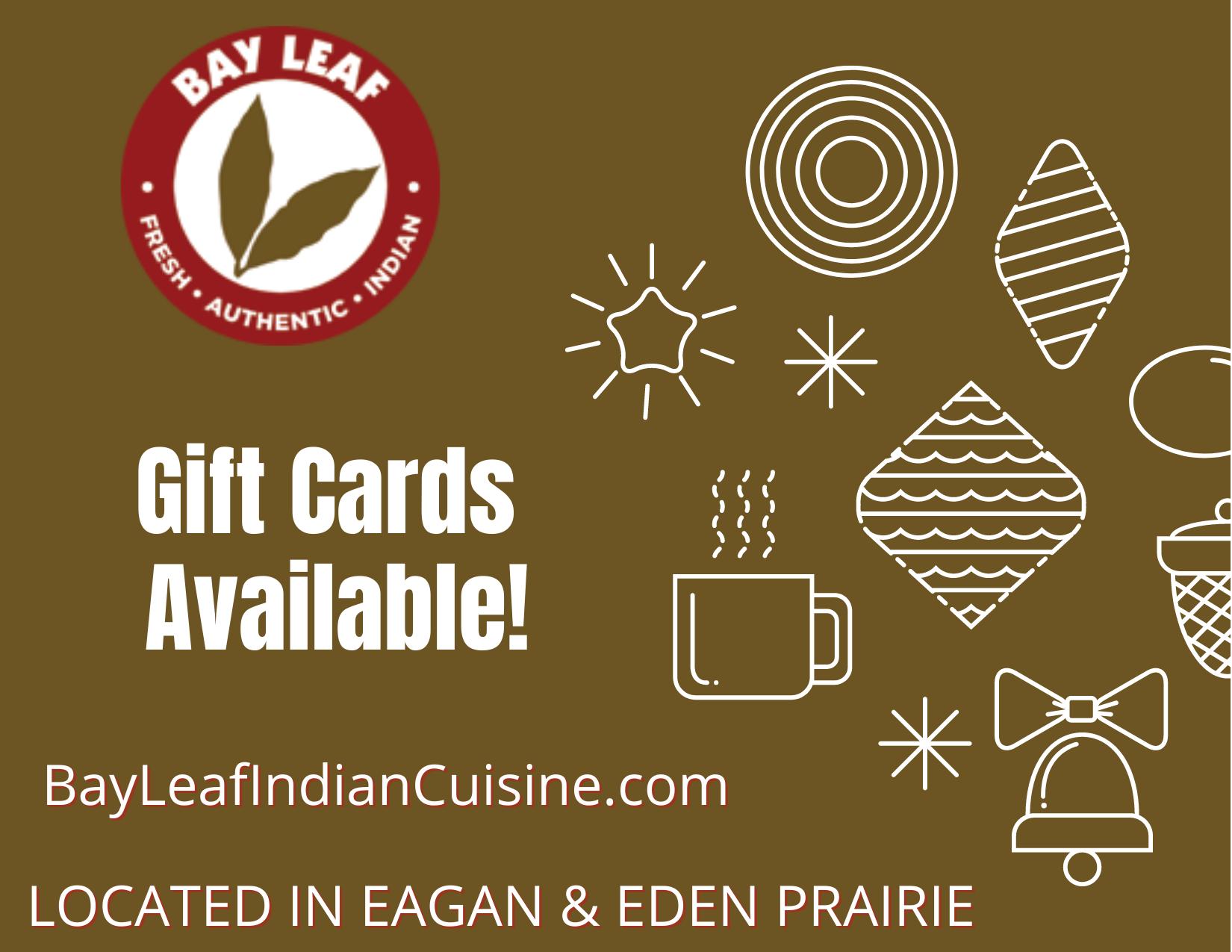 Bay Leaf Gift Card restaurant in Eden Prairie MN