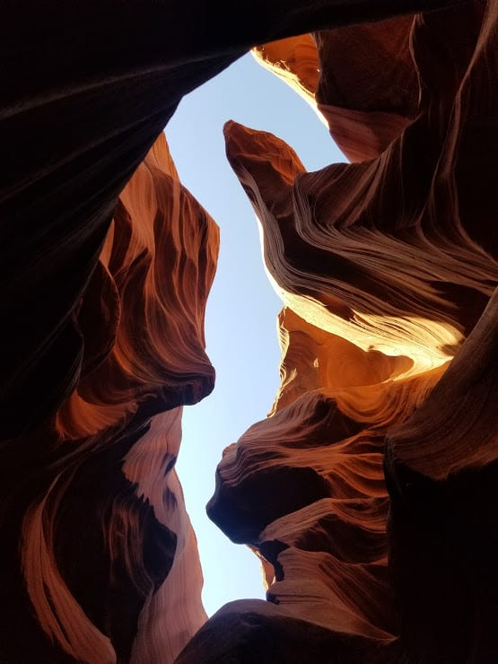 a seahorse shaped silhouette on the walls of Antelope Canyon