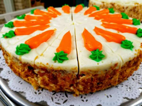 Carrot Cake with Carrot Frosting Decoration