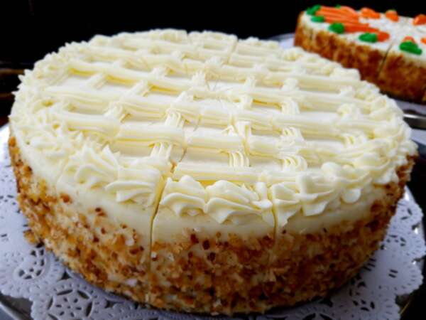 """10"""" Cream Cheese Frosted Cake with Nuts"""