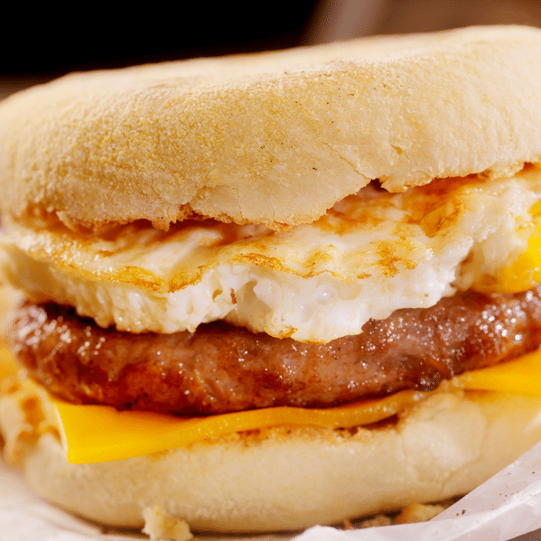 Breakfast slider with egg, cheese, and sausage