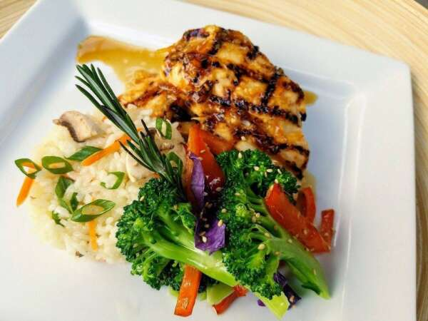 Grilled Chicken with Japanese flavors amped up with soy and exotic yuzu citrus fruit and lime