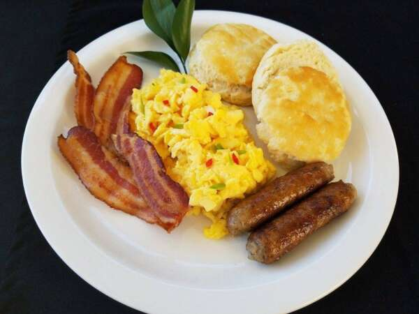 Bacon, eggs, sausage, and a biscuit