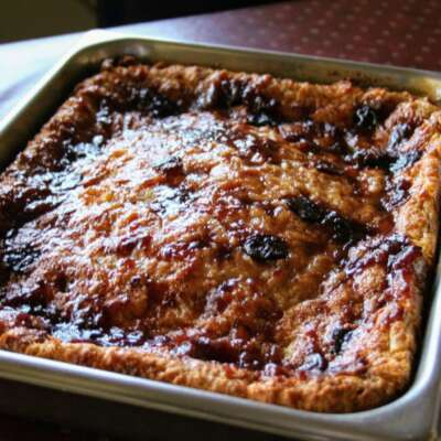 Baked chocolate bread pudding