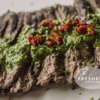 Skirt steak with chimichurri and sun dried tomatoes