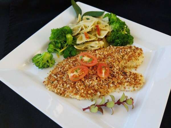 Crusted tilapia with side of pasta and broccoli