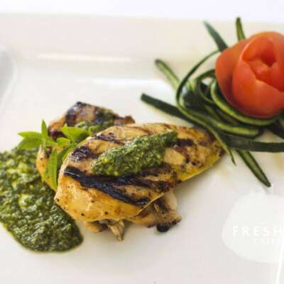 Grilled chicken with pesto sauce