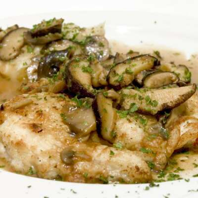 breaded chicken marsala topped with mushroom sauce