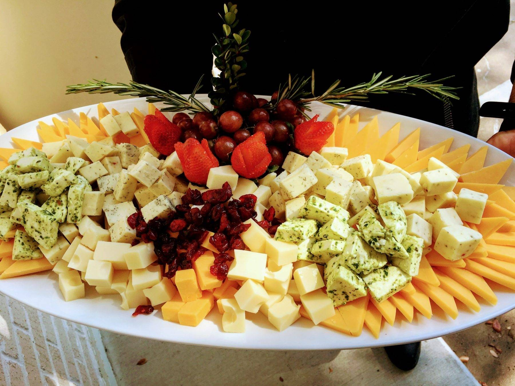Assorted Cheese with Cranberries, Grapes, Strawberries