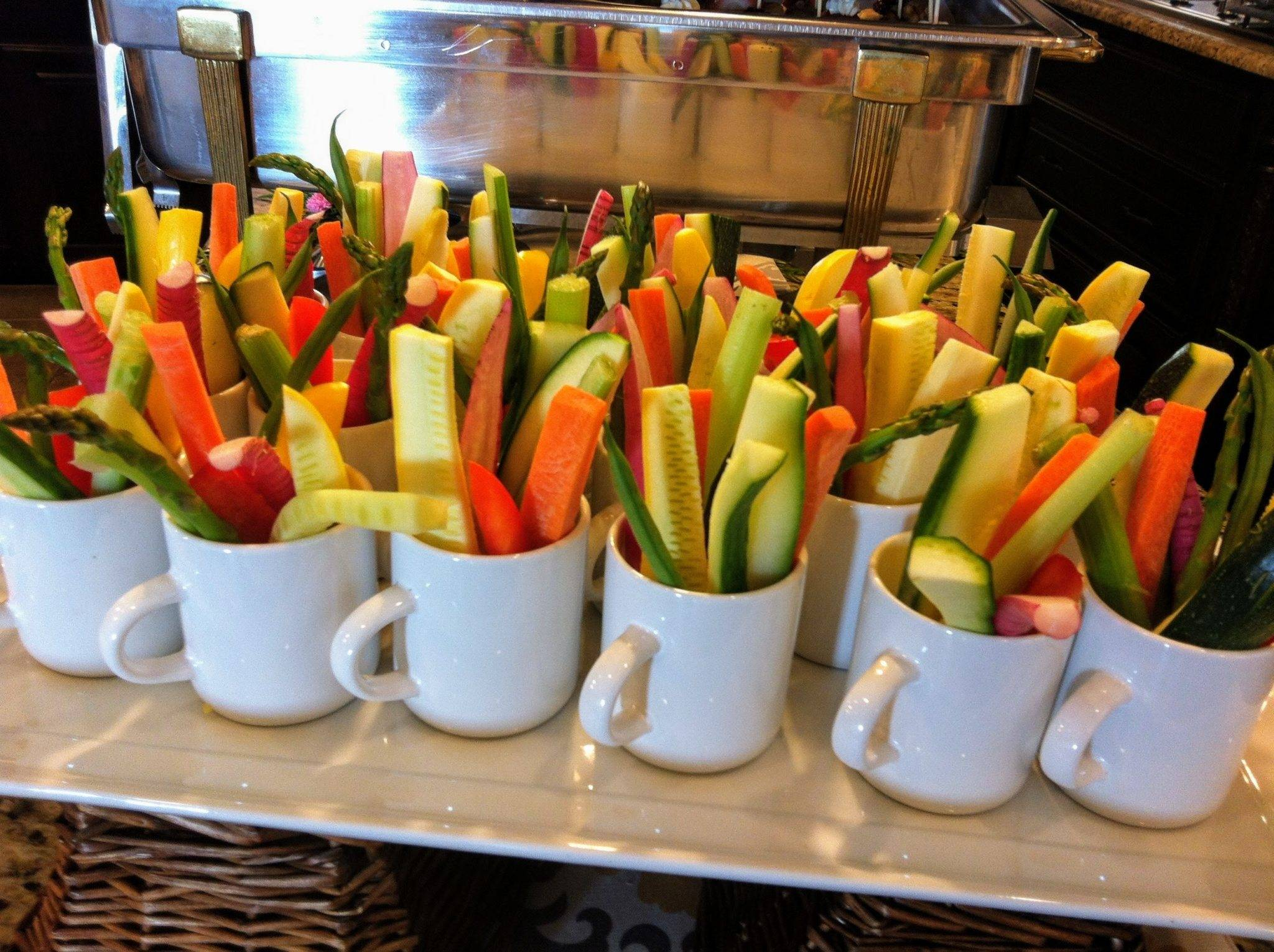 Mini Coffee Mugs filled with Assorted Vegetables