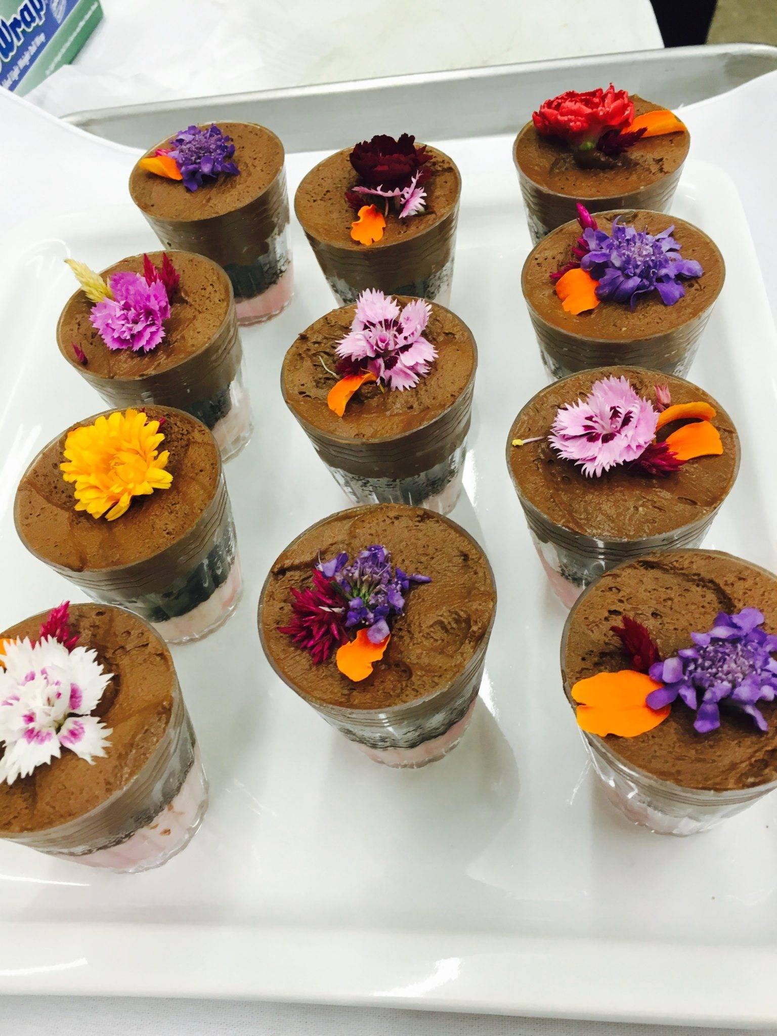 Chocolate Mousse in Shot Glasses with Flower Garnish