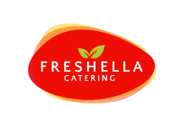 Freshella Catering logo, red background with white letters