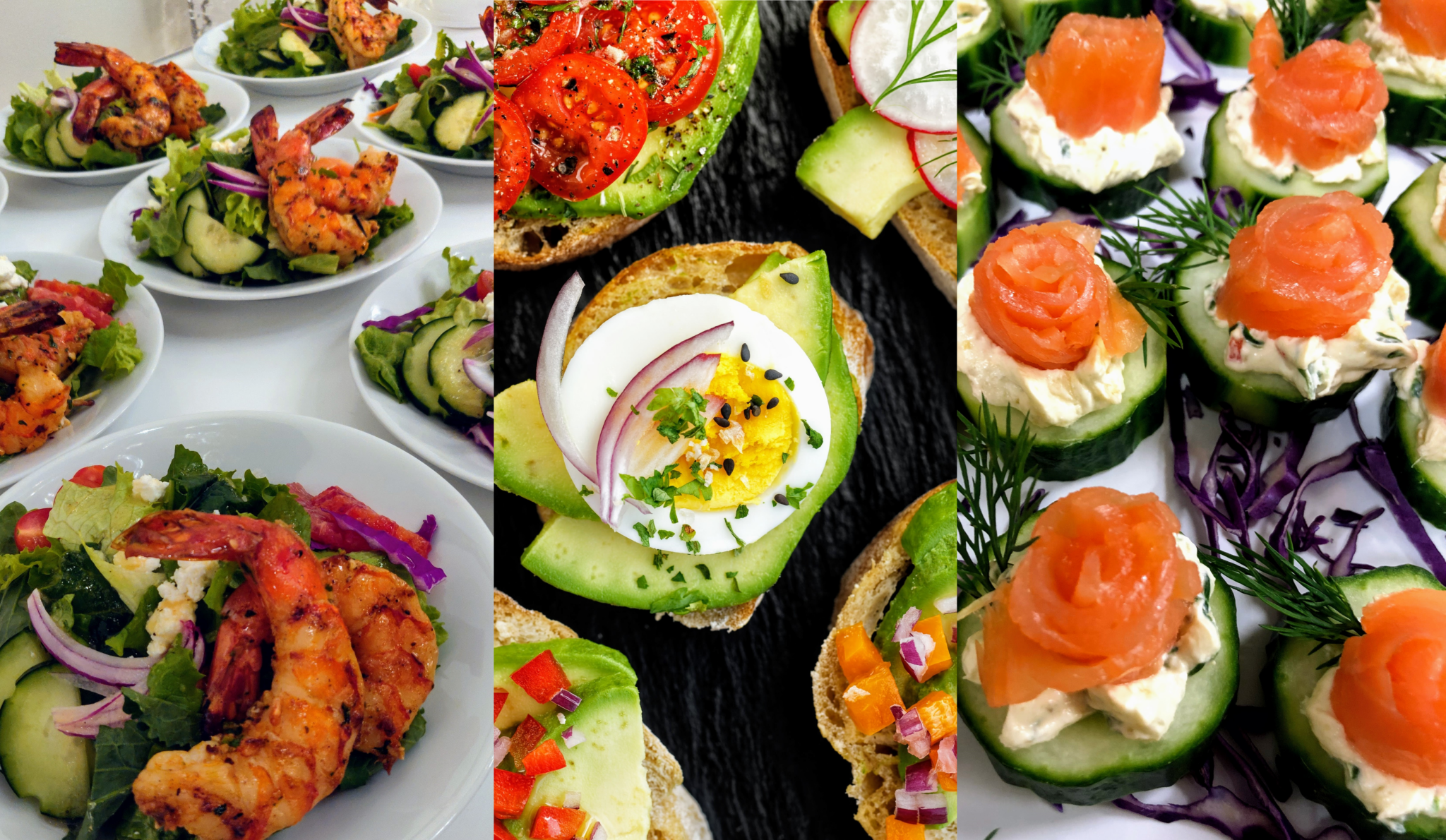 Montage of three images showing party Hors D'oeuvres of Freshella Catering