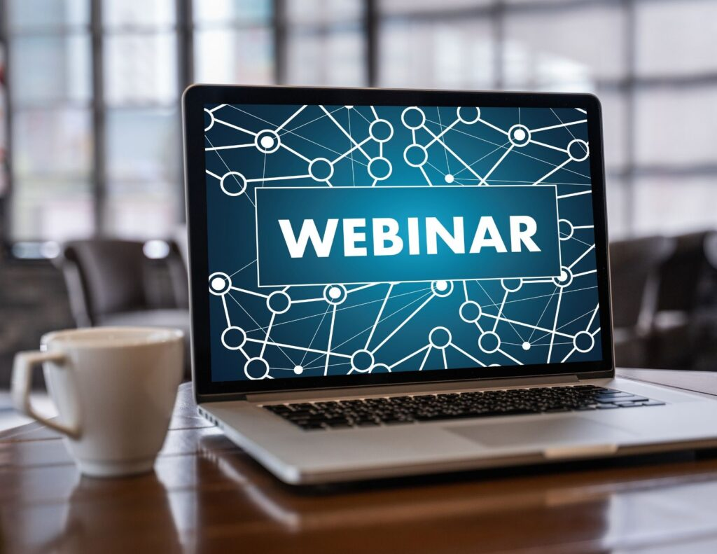 computer that says webinar