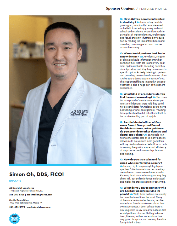 The Featured Profile of Dr. Oh