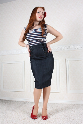 High Waisted-- Vintage Style SAILOR SKIRT