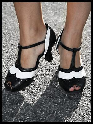 Open-Toe Black & White Dance Shoes