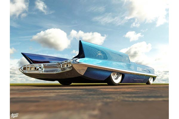 1955 Lincoln Futura Concept Reimagined As a Low-Riding Roadster