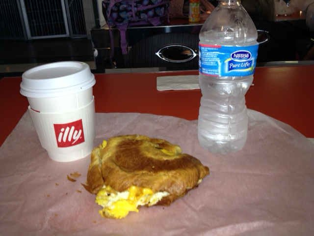 My hearty breakfast this morning, thanks to my getting there super early in case security was crazy.