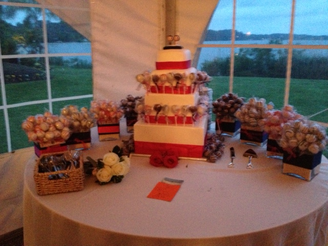 Instead of serving wedding cake slices to guests, we got to take home as many cake pops as we wanted! There was an assortment of vanilla, red velvet, and chocolate cake pops.