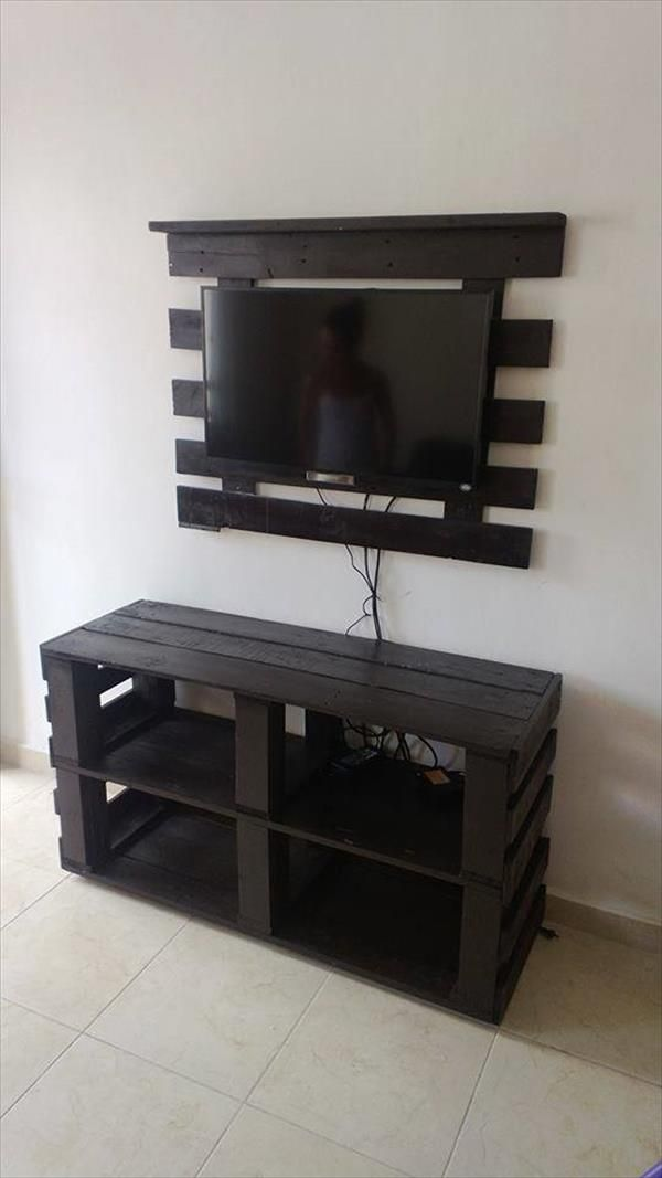 Base para el televisor de madera