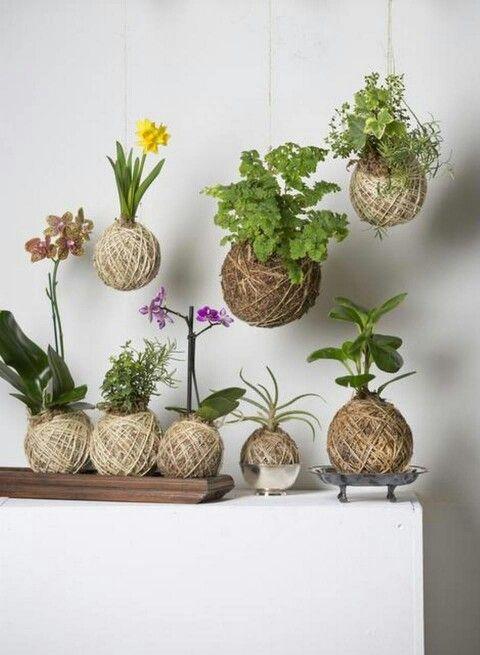 Decoración con plantas con flor artesanales