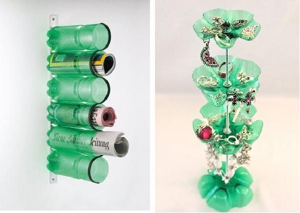 Tus accesorios y revistas en botellas de plástico