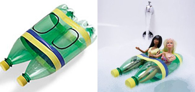 Crea un barco con botellas de plástico para bañera
