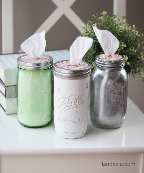 Porta pañuelos con frascos de cristal