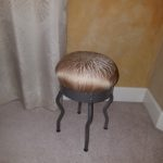 IKEA Uri stool recovered with taupe drapery fabric.