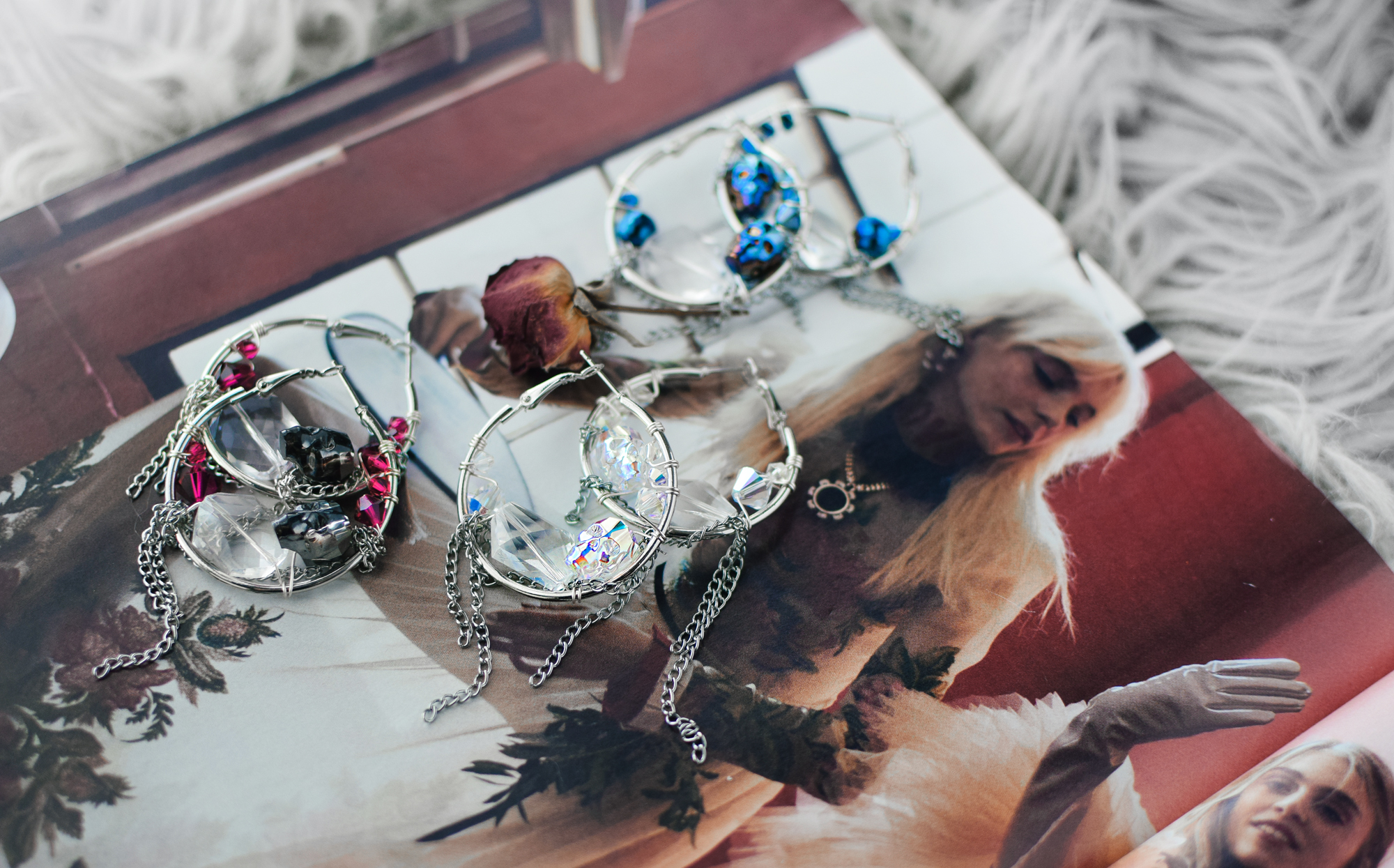 diy skull sparkle hoops by Quiet Lion Creations