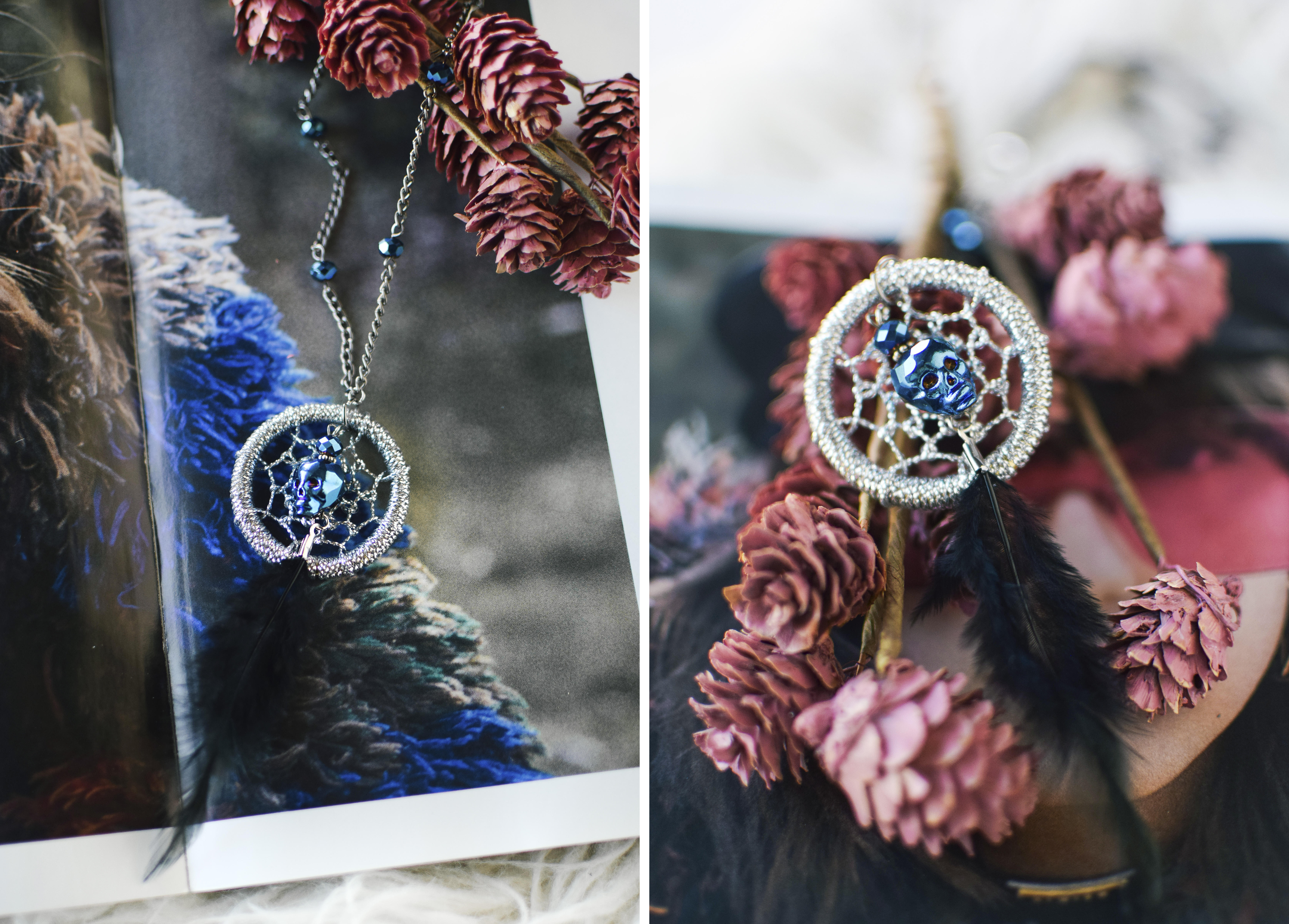 diy skull dreamcatcher necklace by quiet lion creations