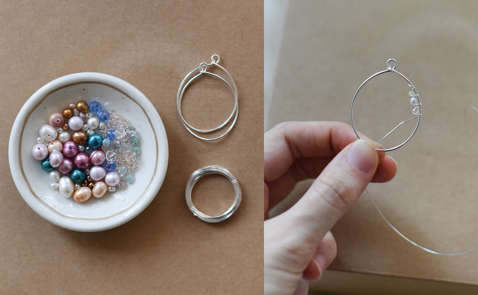 DIY Shell Sparkles Wire-Wrapped Earrings