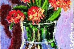 Red Ixora Flowers in Vase