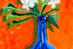 White Frangipani and Blue Bottle