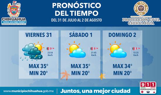 Prevé Protección Civil Municipal lluvias y clima cálido para este fin de semana