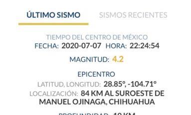 Registra CEPC sismo con intensidad 4.2° Richter con epicentro entre Ojinaga y Aldama