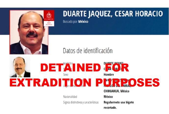 Extradición de Duarte fue librada por la Corte de Nuevo México por peculado de 96 mdp
