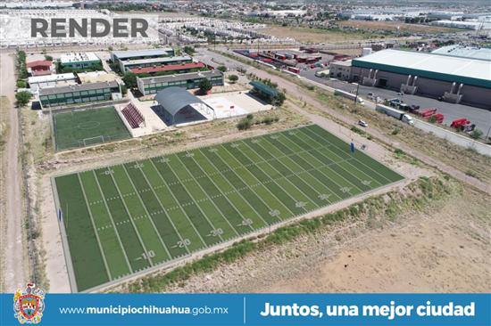 Inicia Gobierno Municipal construcción de cancha de futbol americano en el COBACH 10