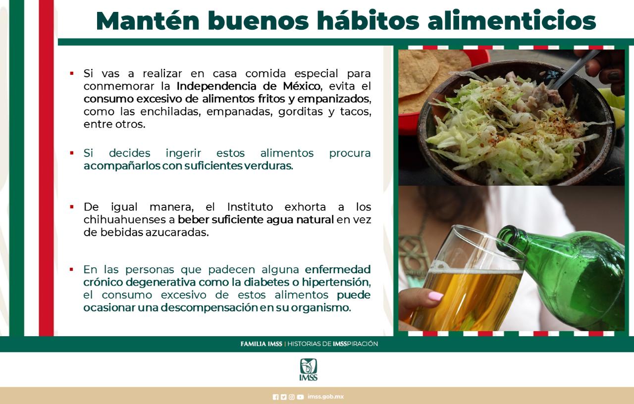 Exhorta IMSS a mantener buenos hábitos alimenticios durante festejos patrios