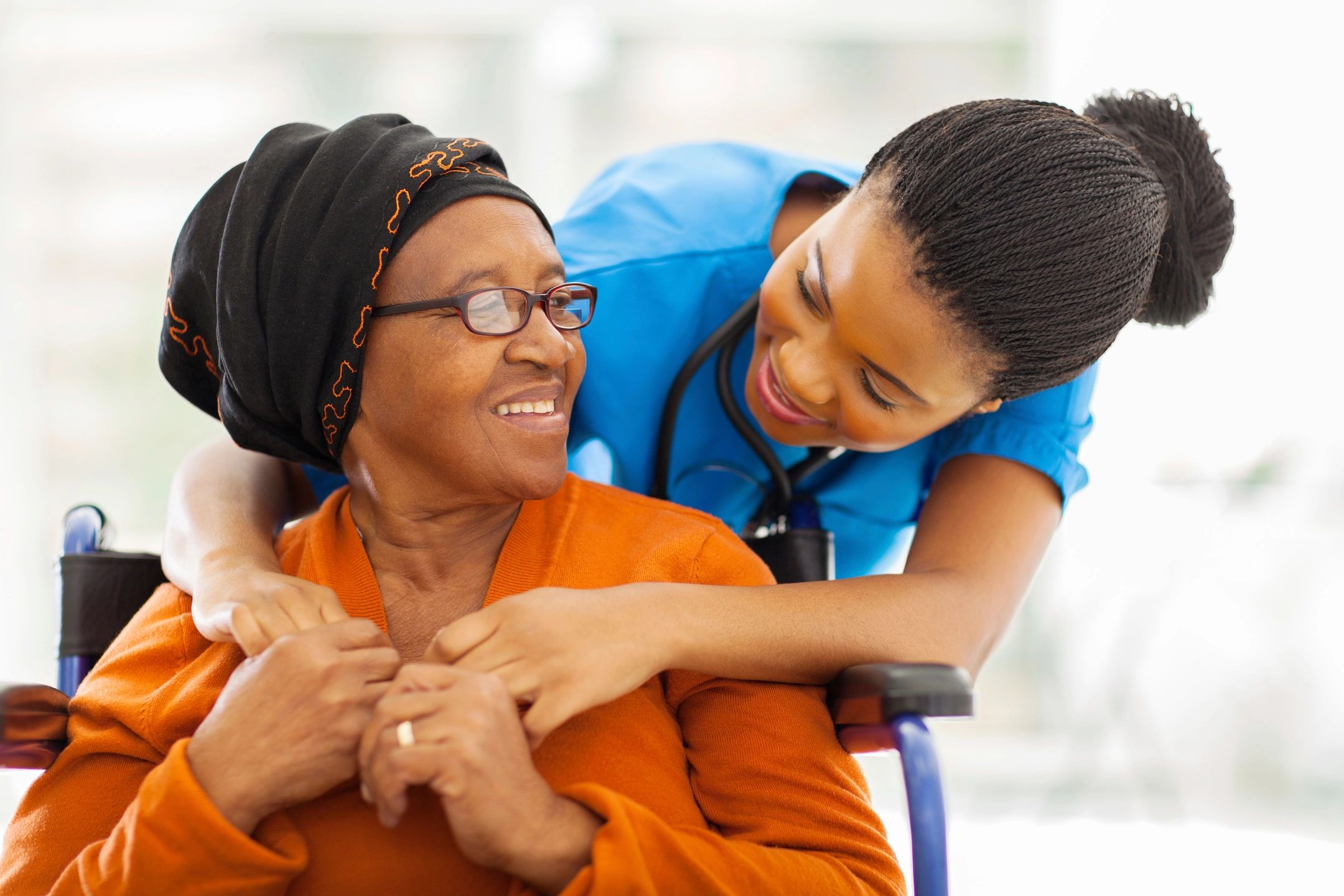 Woman from healthcare helping