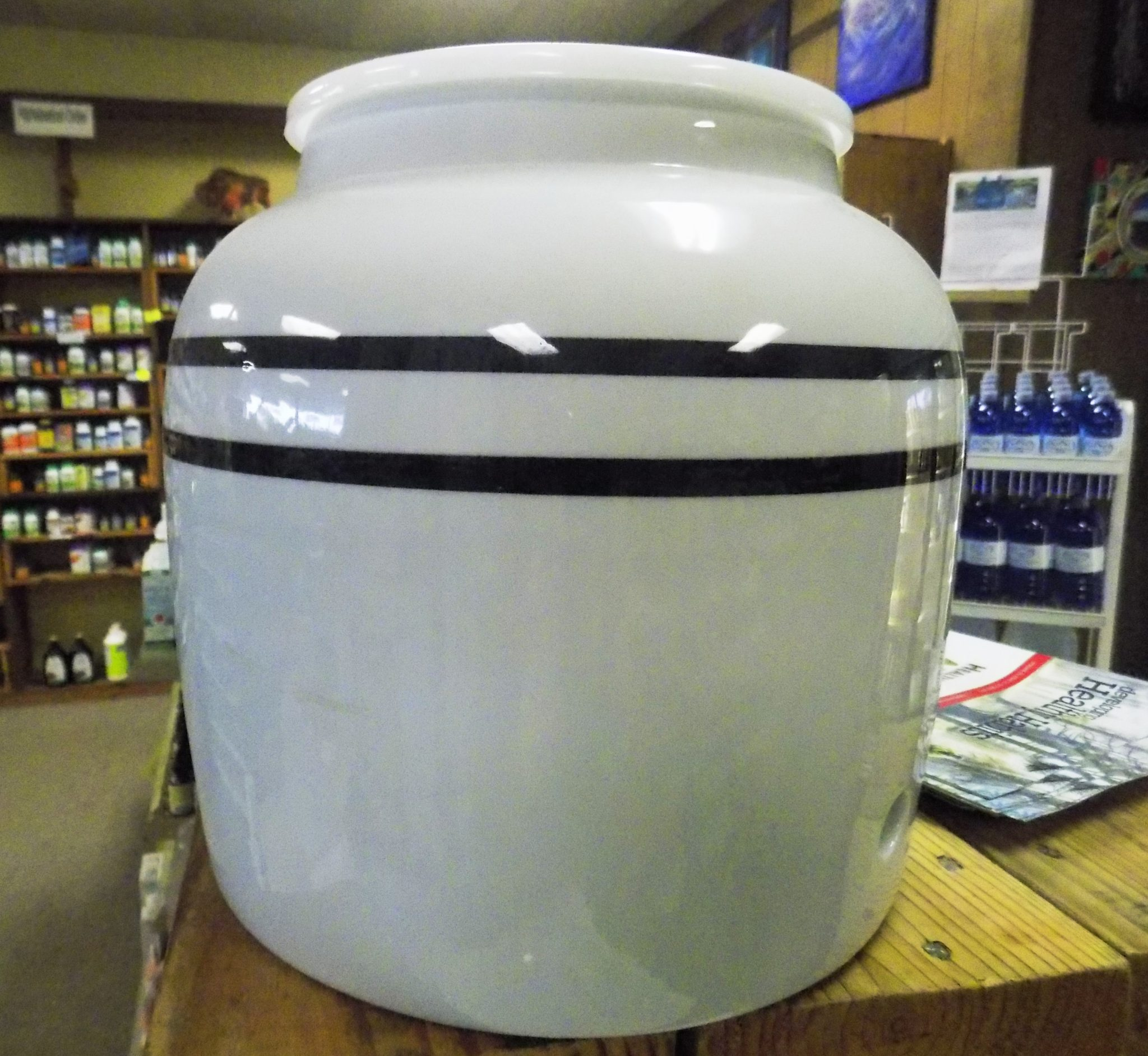 Double Blue Stripes Water Dispenser Ceramic Crock in Blue