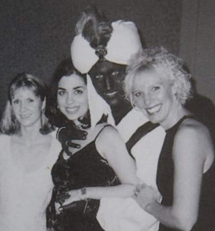 """Justin Trudeau, wearing """"Brownface"""" at an Annual Dinner & """"Arabian Nights"""" themed costume party, at West Point Grey Academy, in the Spring 2001."""