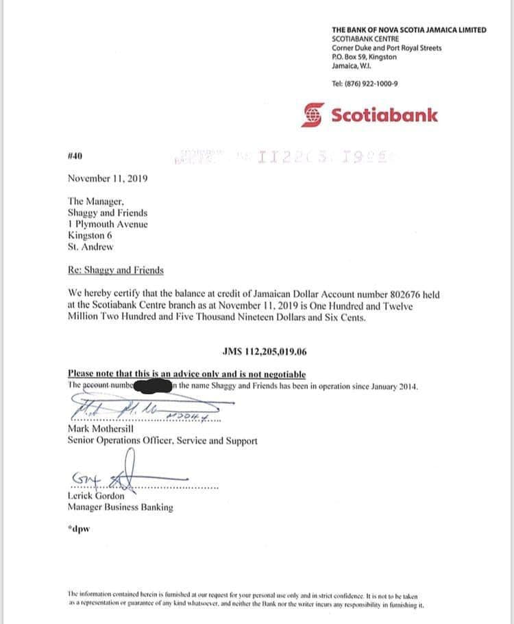 Bank Statement confirmed money in account
