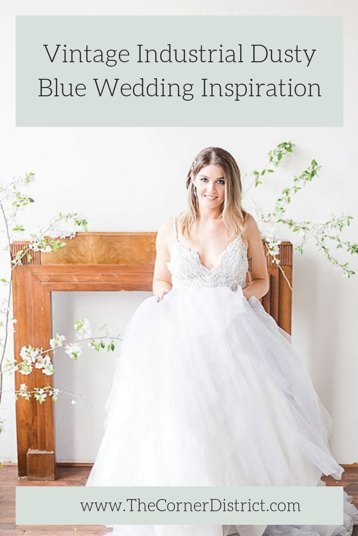 Looking for the perfect wedding inspiration for your vintage industrial wedding venue? Check out this Vintage Industrial Dusty Blue Wedding Inspiration that was featured on Southern Bride on The Corner District blog! #thecornerdistrict #vintageindustrialwedding #atlantabride #northgeorgiaweddingvenue