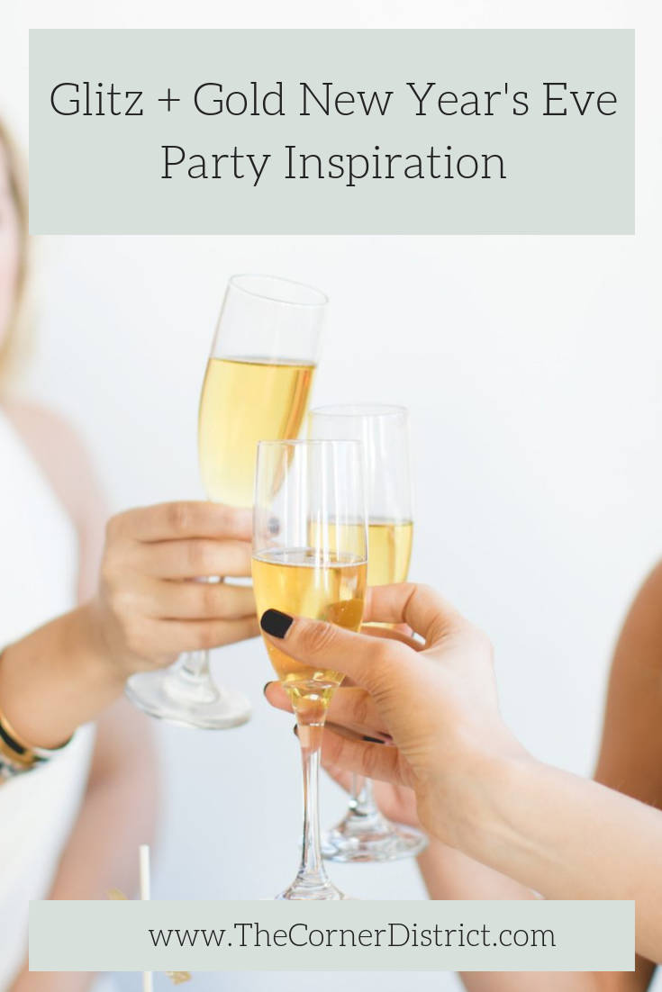 We're sharing some of our favorite photos from this Glitz + Gold New Year's Eve Party Inspiration featured on The Celebration Society! #thecornerdistrict #NYEpartyinspiration #NewYearsEveParty #goldpartyinspiration