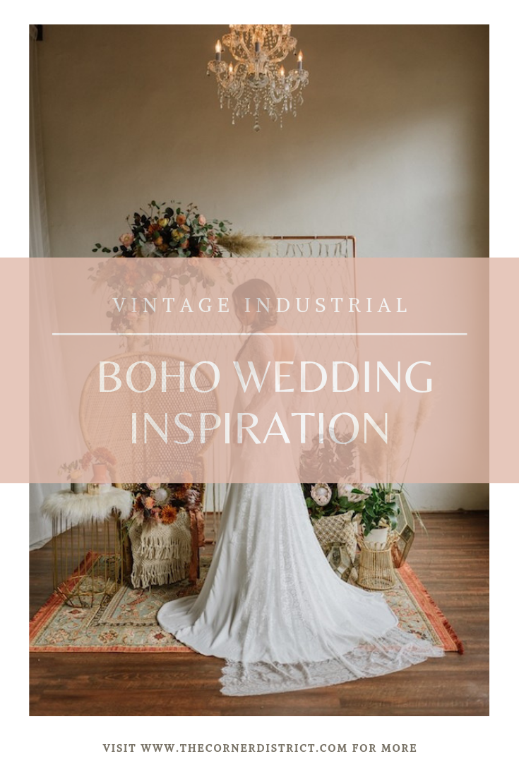 We're sharing our favorite details of this Vintage Industrial Boho Wedding Inspiration that was featured on The Perfect Palette! #thecornerdistrict #northgeorgiaweddingvenue #bohowedding #vintageindustrialbohowedding #perfectpalettewedding