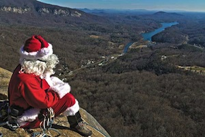 Santa on Chimney at Chimney Rock Park