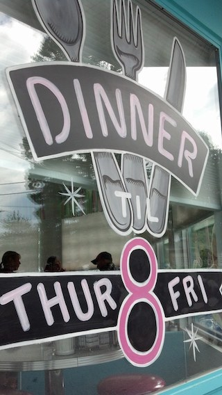 Window Signage at Pop's Diner